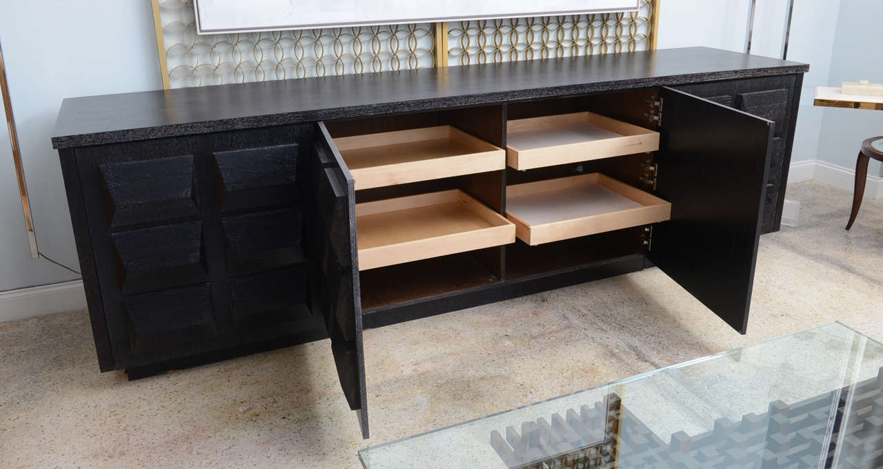 American Monumental Ebonized Four-Door Credenza Buffet by Jamie Herzlinger For Sale