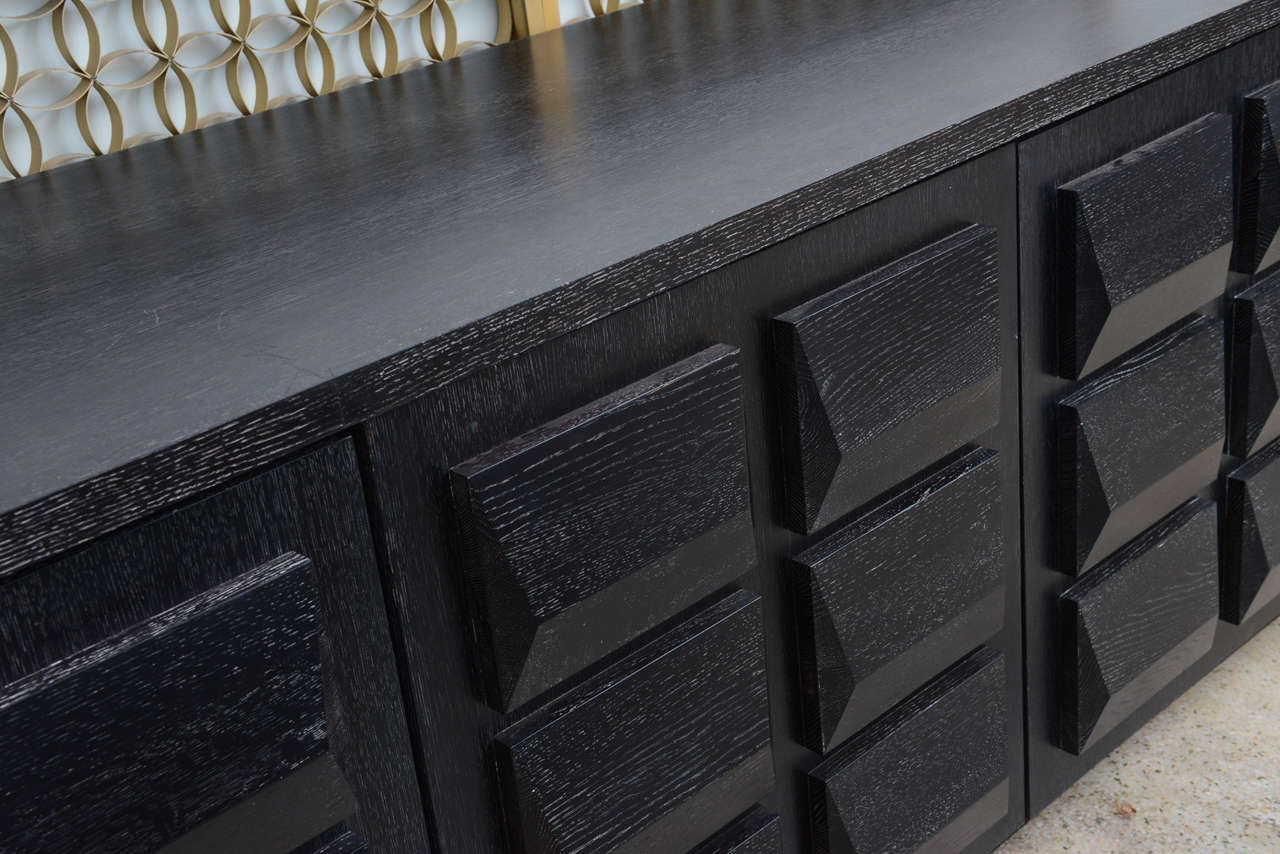 Contemporary Monumental Ebonized Four-Door Credenza Buffet by Jamie Herzlinger For Sale