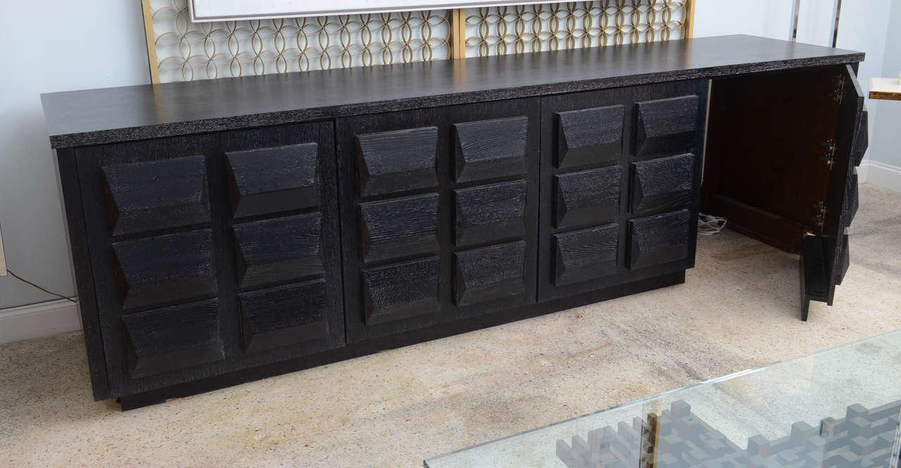 Wood Monumental Ebonized Four-Door Credenza Buffet by Jamie Herzlinger For Sale