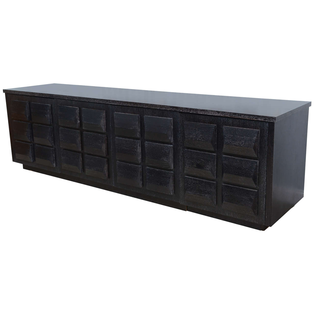 Monumental Ebonized Four Door Credenza Or Buffet By Jamie
