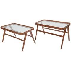Companion Pair of Italian Modern Walnut & Glass Tables Attributed Carlo de Carli