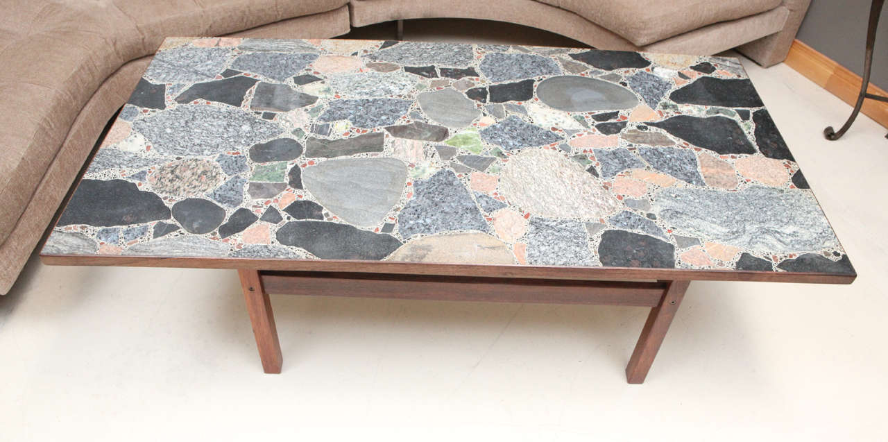 Superior Mid Century Modern Danish Rosewood Coffee Table With Terrazzo Stone Top For  Sale