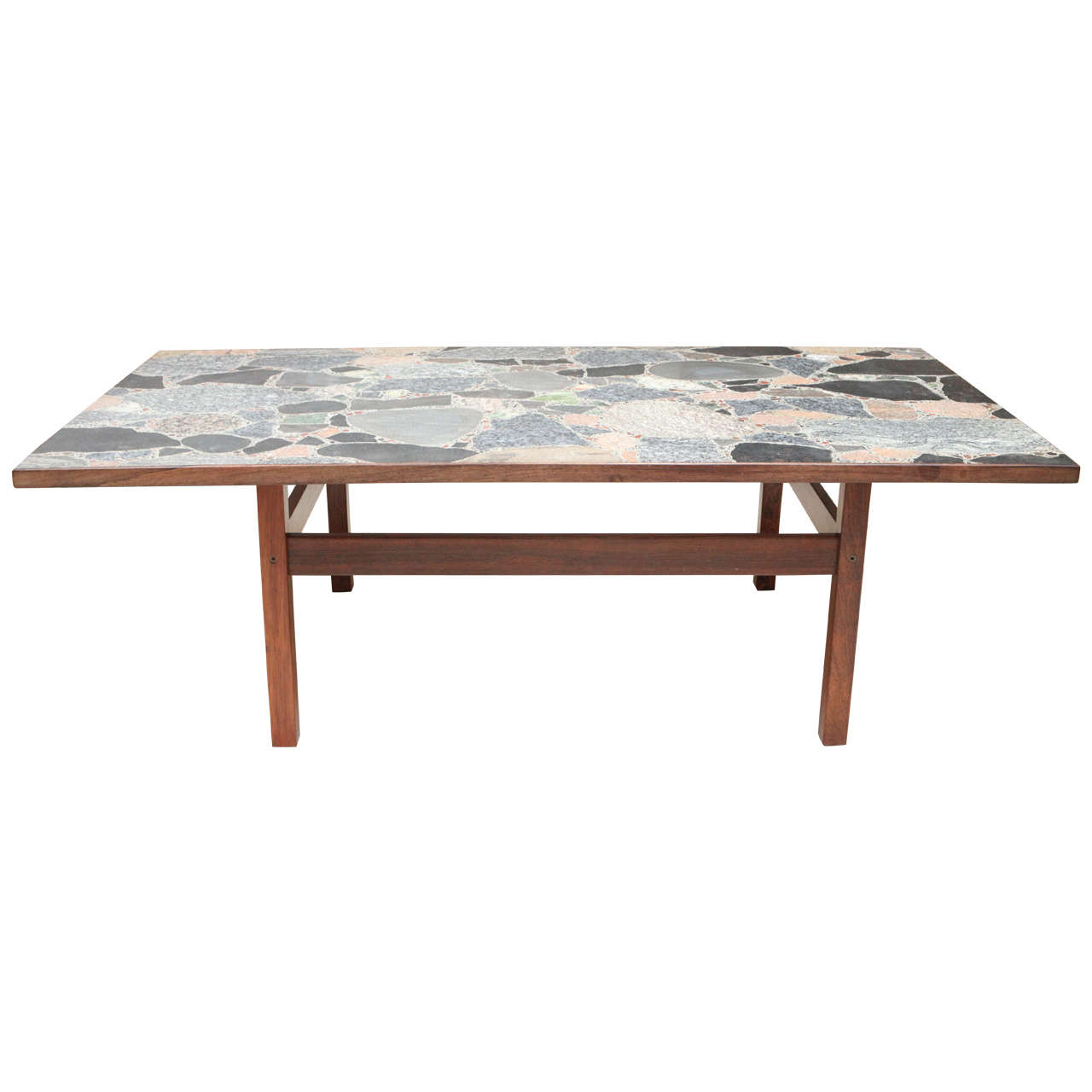 Danish Rosewood Coffee Table With Terrazzo Stone Top At