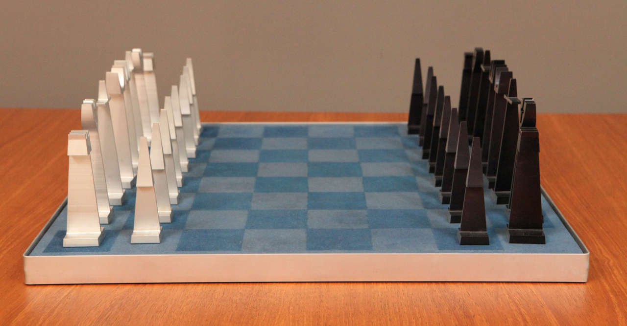 Mid-Century Modern Austin Enterprises Aluminum Chess Set and Board