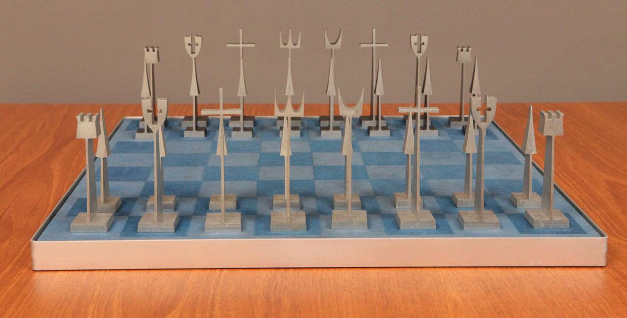 Mid-20th Century Austin Enterprises Aluminum Chess Set and Board