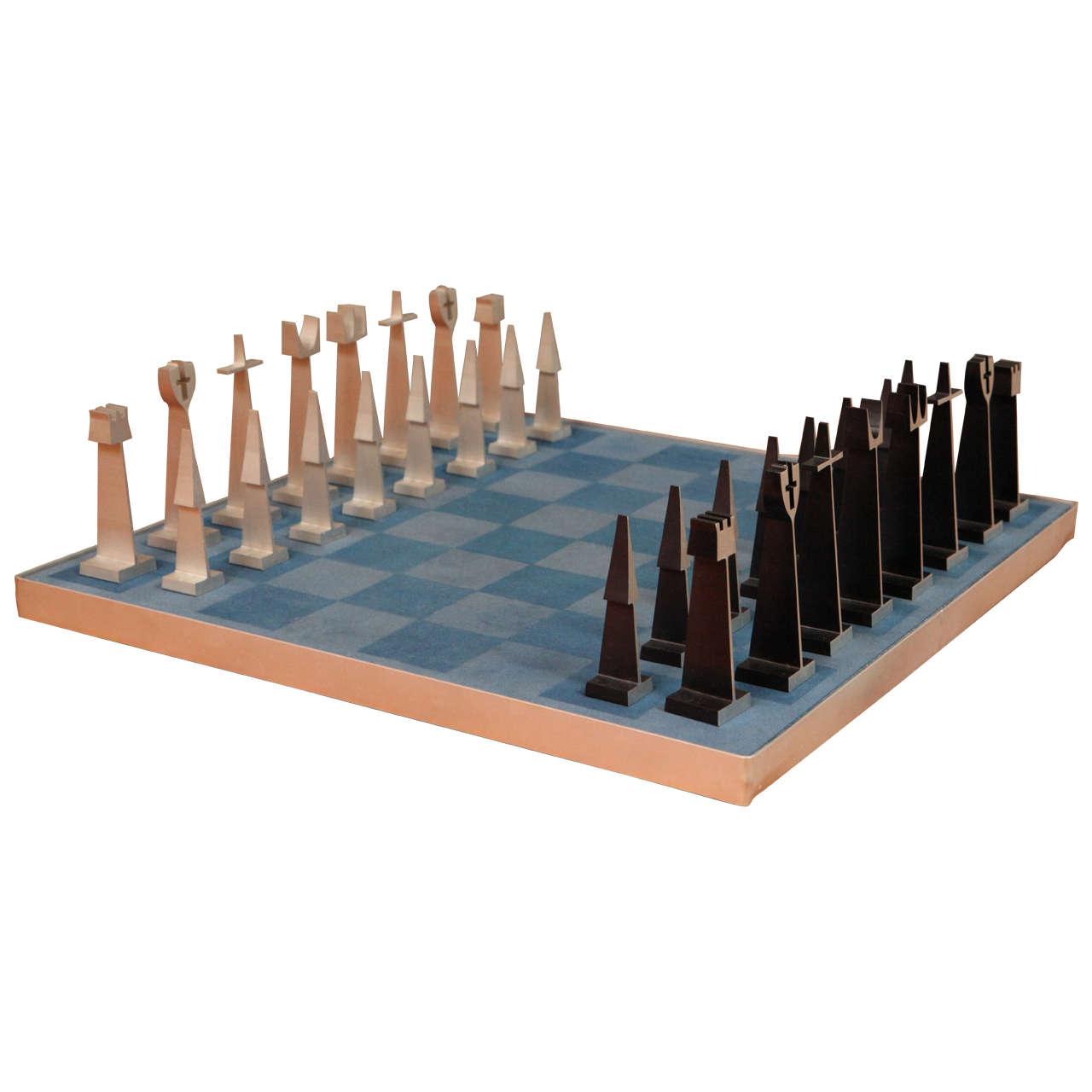 Austin Enterprises Aluminum Chess Set and Board
