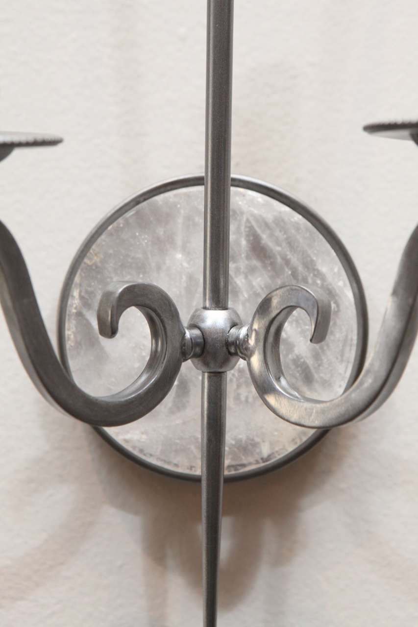 Pewter and Rock Crystal Sconces Parzinger Influence 5