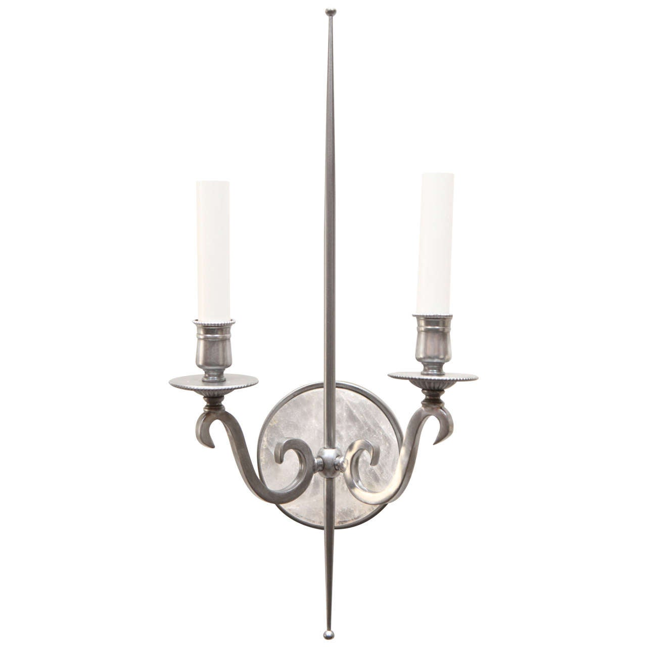 Pewter and Rock Crystal Sconces Parzinger Influence 1