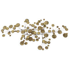Brass Raindrops Wall Sculpture by C. Jere, Manufactured by Artisan House