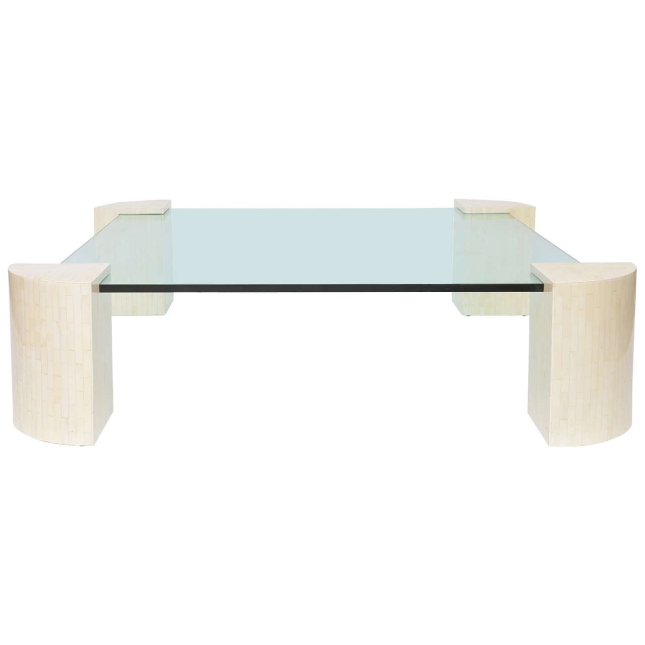 Large bone and glass coffee table at 1stdibs for Large glass coffee table