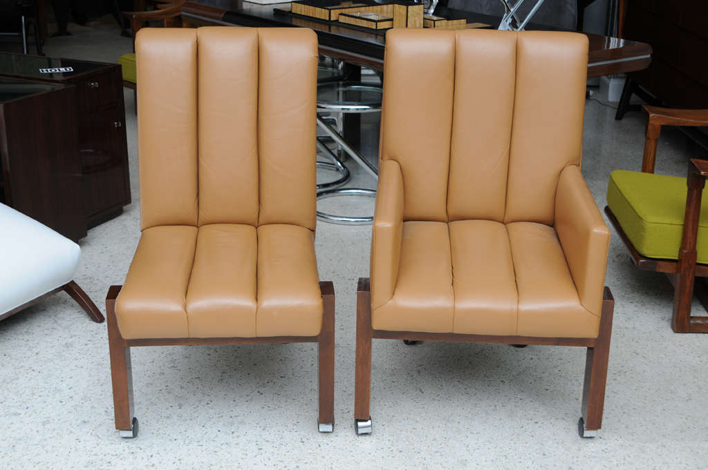 Rare Set of Ten Paul Evans Mahogany and Leather Chairs In Excellent Condition For Sale In Miami, FL