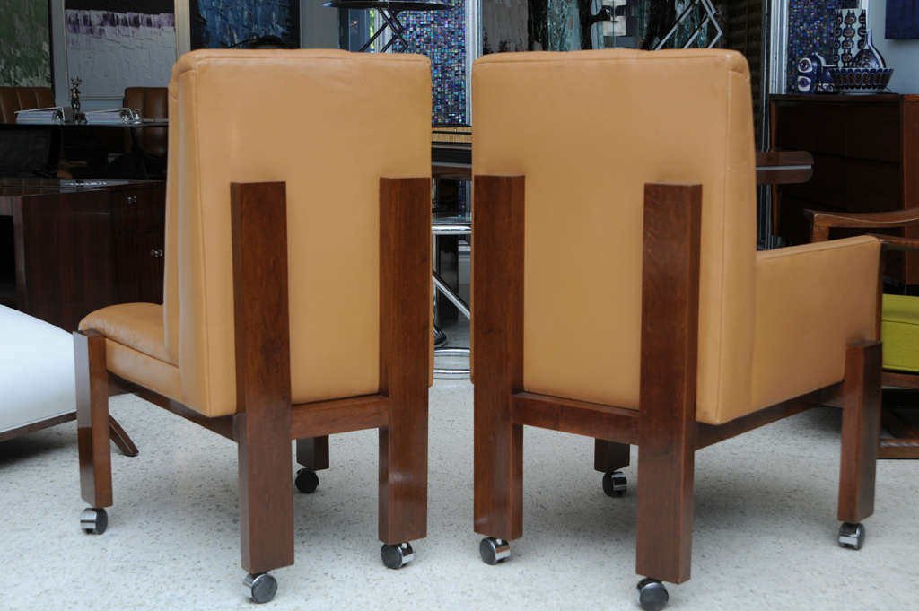 Rare Set of Ten Paul Evans Mahogany and Leather Chairs For Sale 2