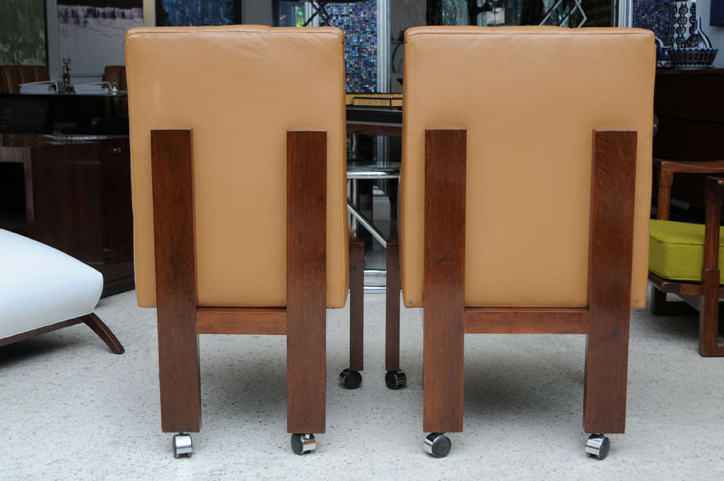 Rare Set of Ten Paul Evans Mahogany and Leather Chairs For Sale 3
