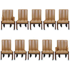 A Rare Set 10 Paul Evans Mahogany and Leather Chairs
