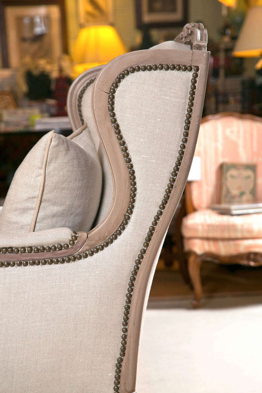 Pair Of French Wingback Chairs In Linen Upholstery With Nail Heads At 1stdibs