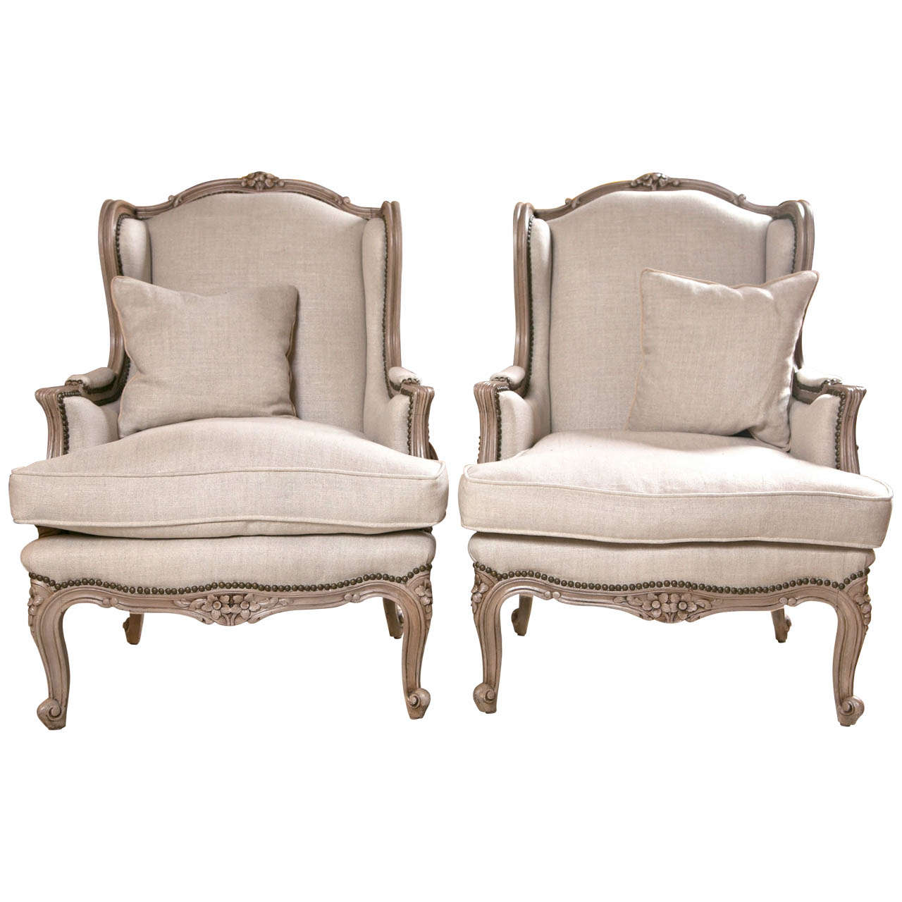 Pair of French Wingback Chairs In Linen Upholstery with  : X from www.1stdibs.com size 1280 x 1280 jpeg 102kB