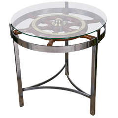 Ships Wheel on Steel Stand