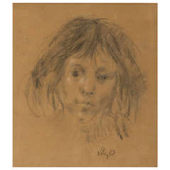 Harold Riley pastel and chalk on paper portrait, England 1968