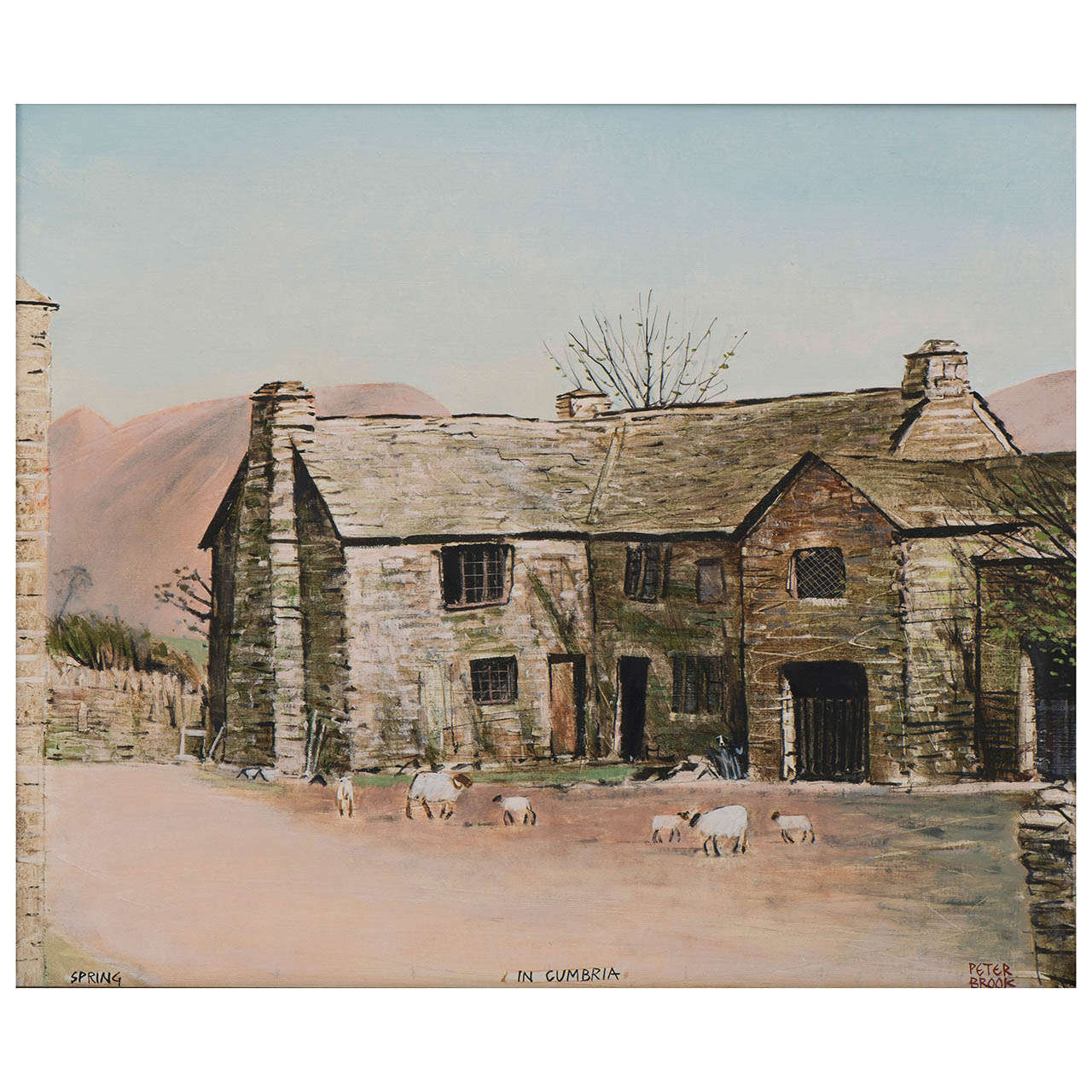 """Peter Brook painting oil on canvas """"Spring in Cumbria"""", England circa 1970"""