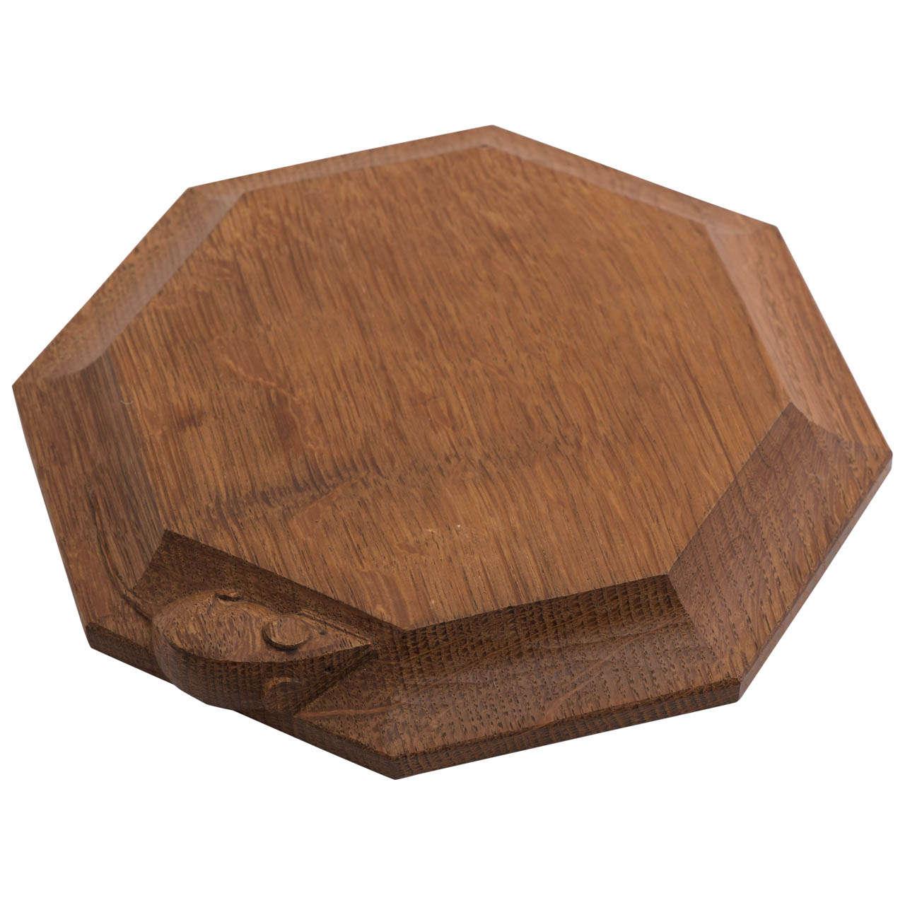 Robert Mouseman Thompson octagonal oak cheese board, England circa 1970