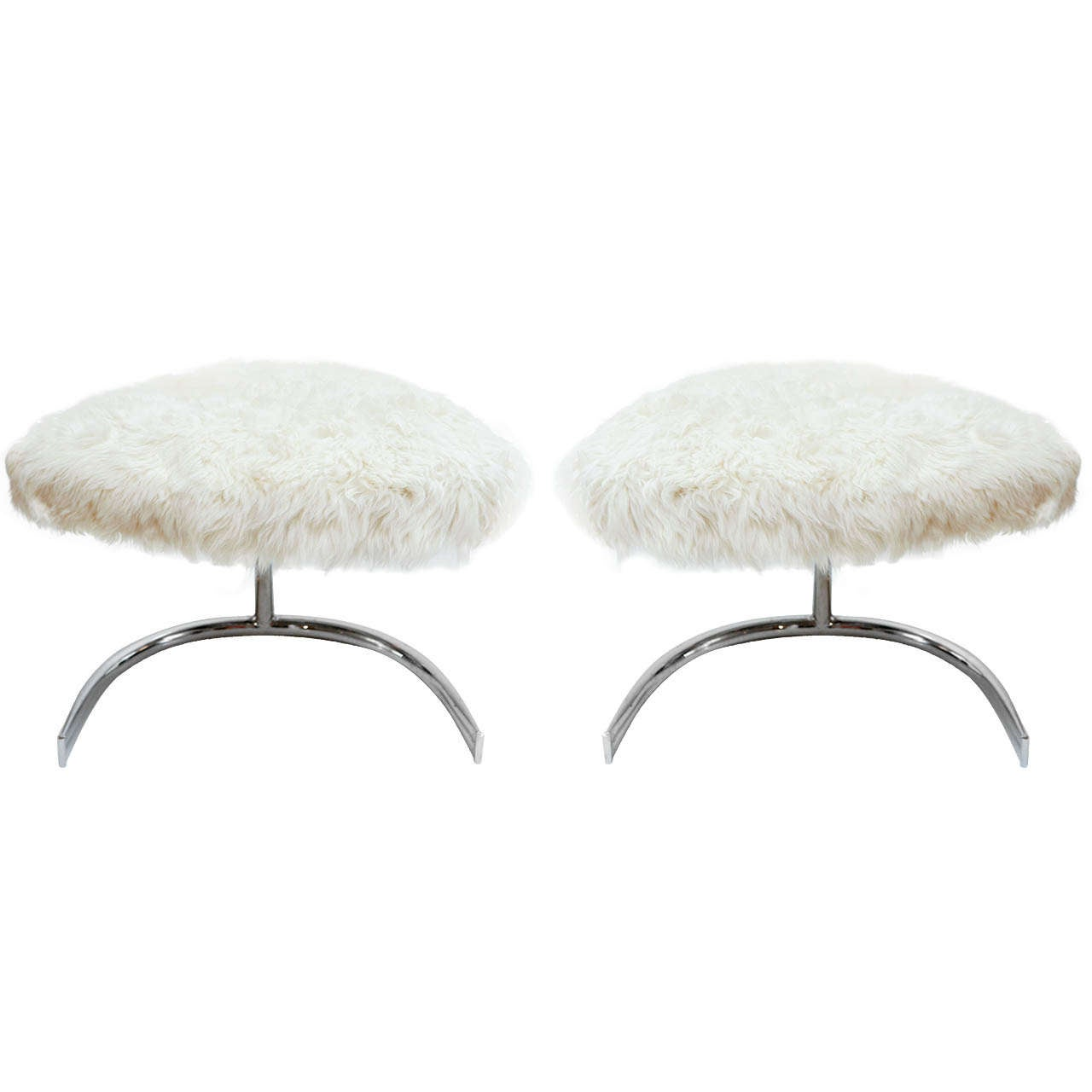 Sheepskin And Chrome Swivel Stools At 1stdibs