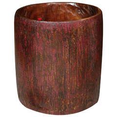 Antique Teak Drum Vessel