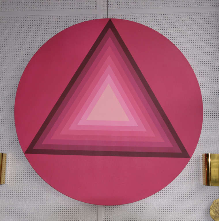 1970s painting in acrylic on canvas, in gradation of color of geometric patterns.
