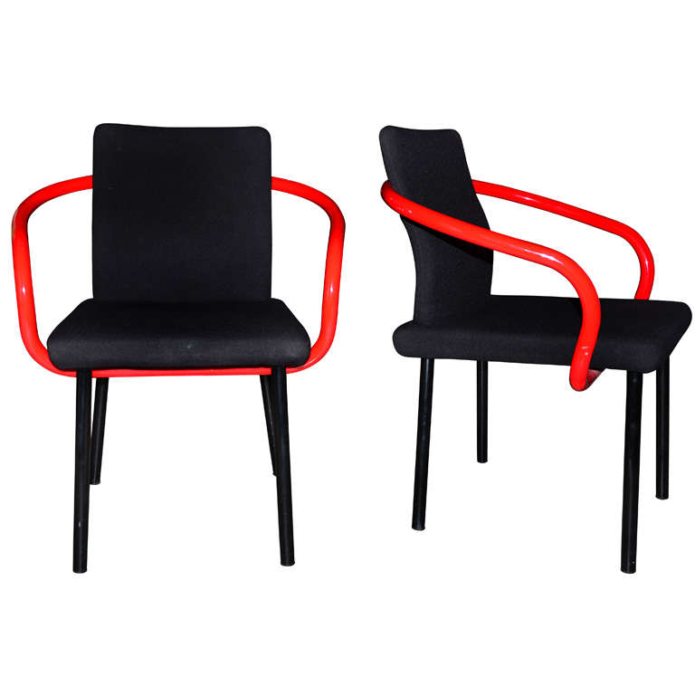 "Pair Ettore Sottsass ""Mandarin"" Chairs for Knoll International For Sale"