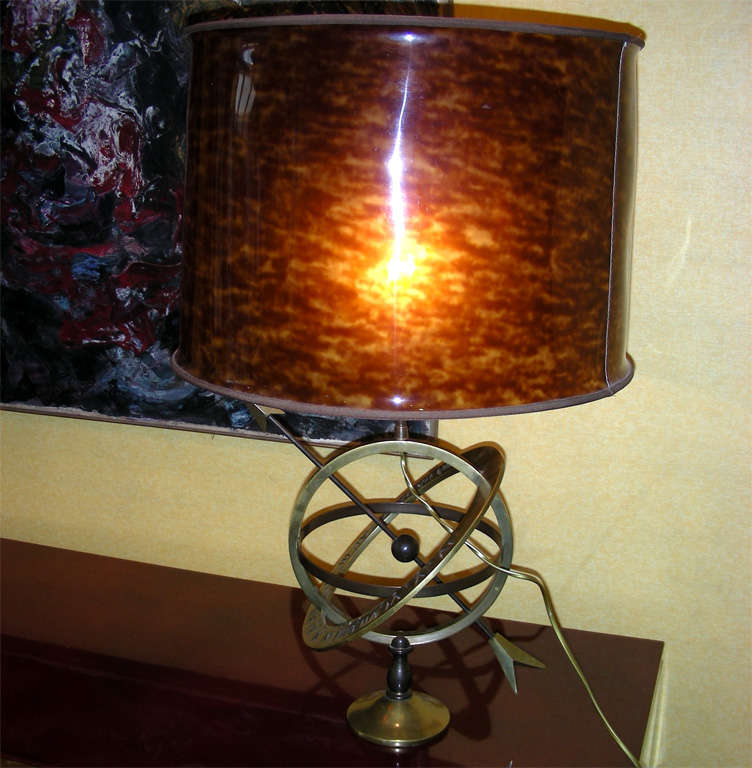 Astrolabe Lamp with imitation Tortoise Shell Shade at 1stdibs