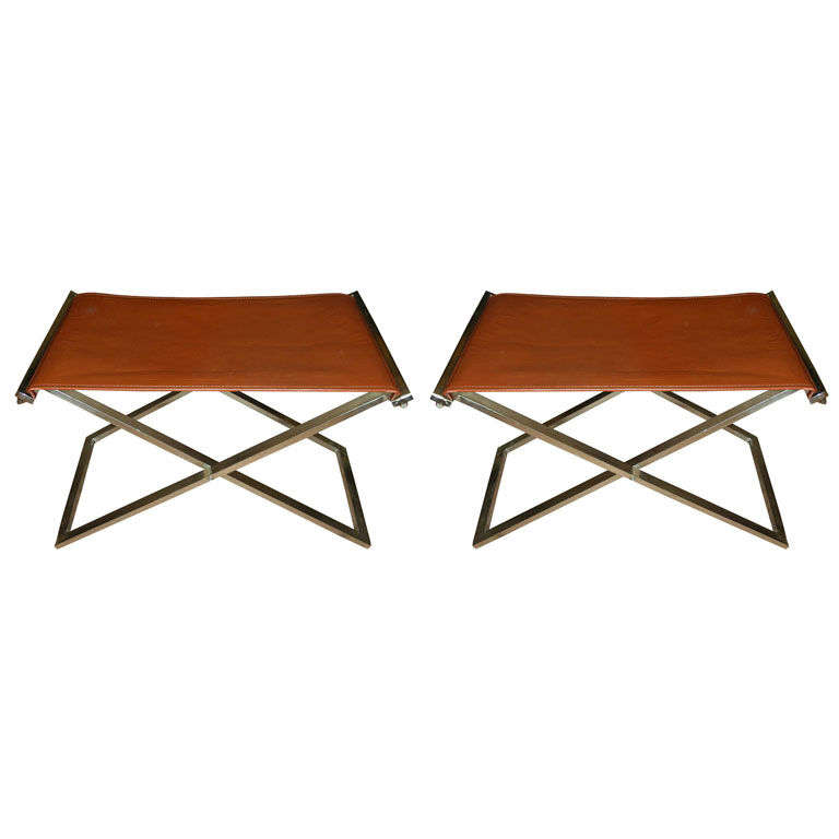 sc 1 st  1stDibs & Pair of Folding Stools in Steel and Brown Leather at 1stdibs islam-shia.org