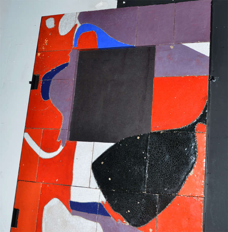 French 1961 Ceramic Wall Panel by Jean Megard, France For Sale