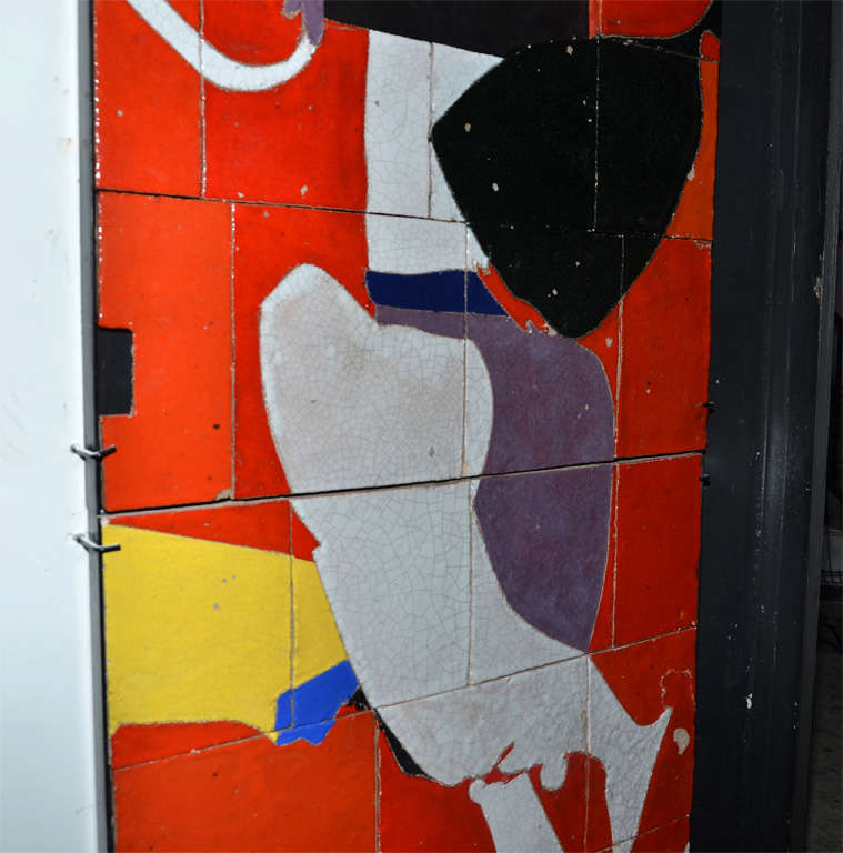 Glazed 1961 Ceramic Wall Panel by Jean Megard, France For Sale
