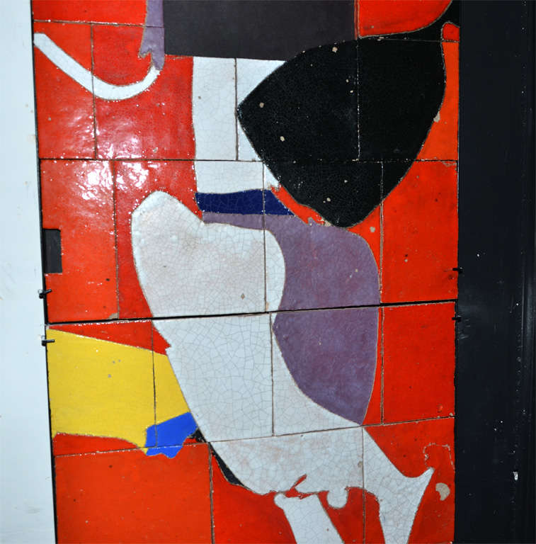 1961 Ceramic Wall Panel by Jean Megard, France In Distressed Condition For Sale In Saint Ouen, FR