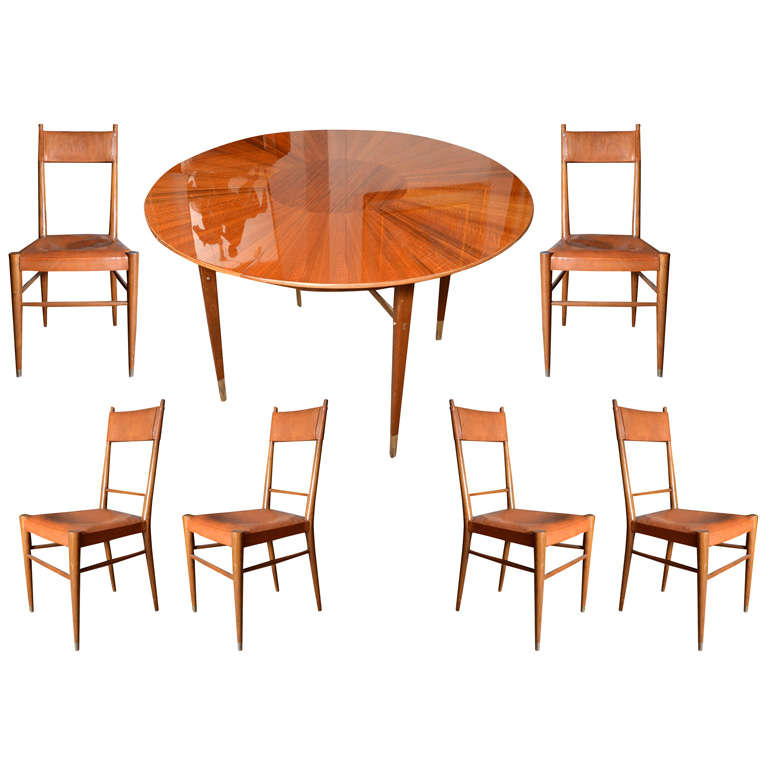 french art deco round table and six chairs at 1stdibs
