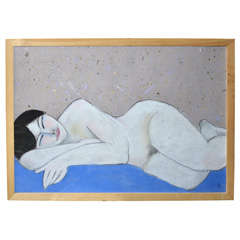 1962 Pastel of a Nude Woman by Anna Silverberg