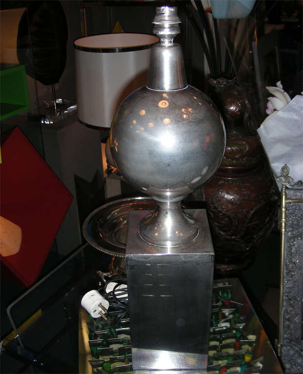 1970s lamp by Maison Barbier in nickeled steel.