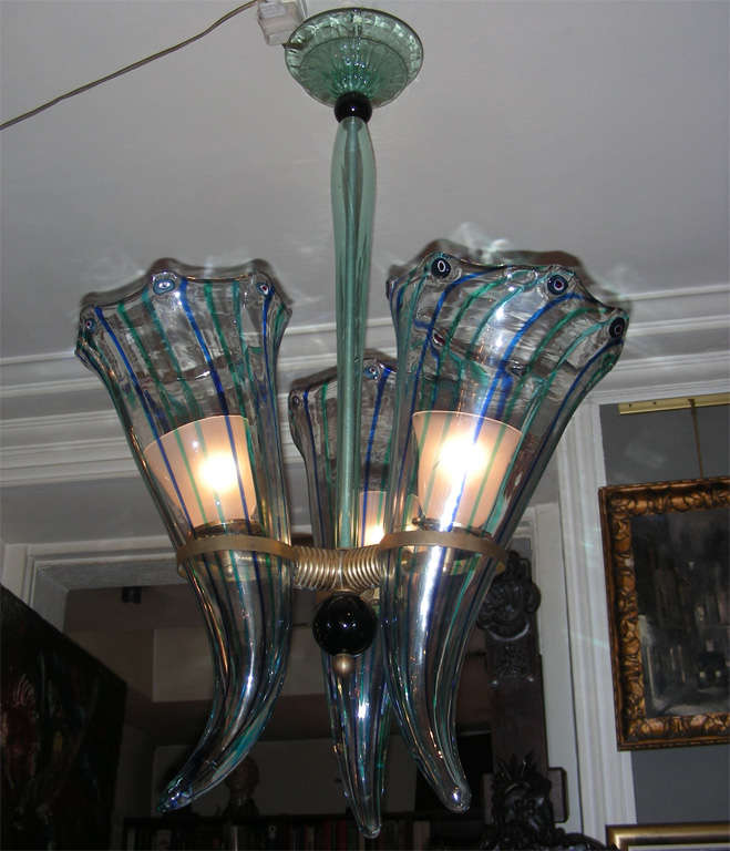 1960s Italian Murano glass chandelier by Venini, shaped like horns,  with the addition of blue murine glass.