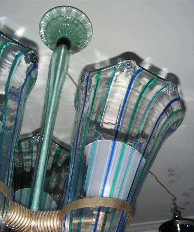 1960s Italian Murano Glass Chandelier by Venini For Sale 5