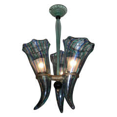 1960s Italian Murano Glass Chandelier by Venini