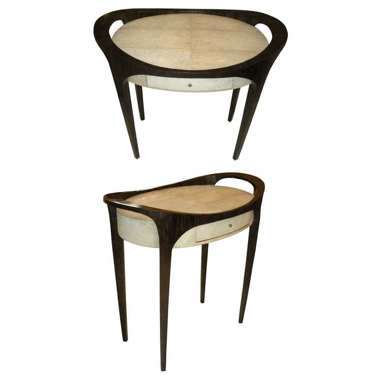 Pair Of Side Tables In Palm Tree Wood And Shagreen At 1stdibs