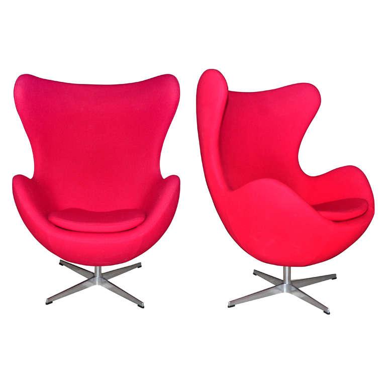 Pair Of Swivel Tilt Red Egg Chair By Arne Jacobsen At 1stdibs