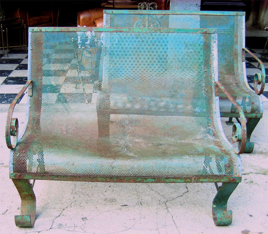 French Two 1950s Iron Benches For Sale