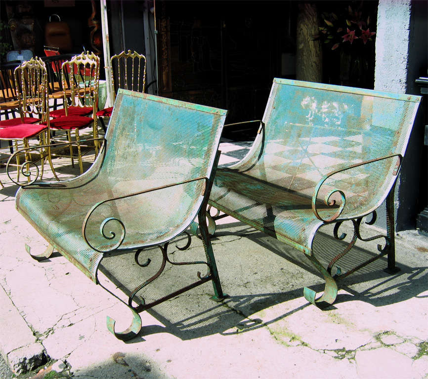 Two 1950s Iron Benches 7