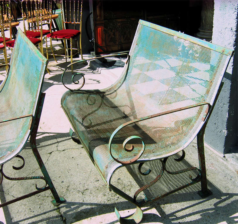Two 1950s Iron Benches 8