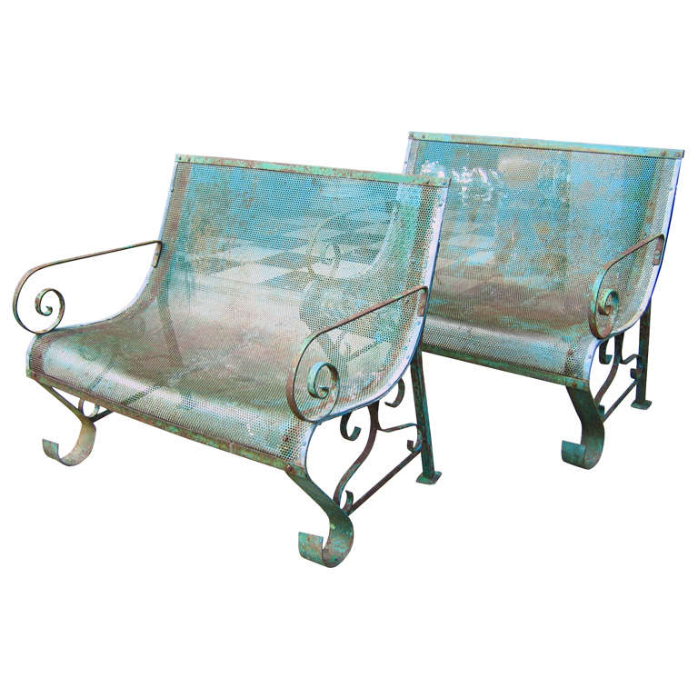 Two 1950s Iron Benches For Sale