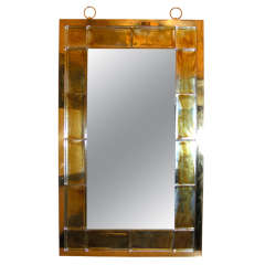 Andre Hayat Mirror with Thick Gold Glass Brick Frame