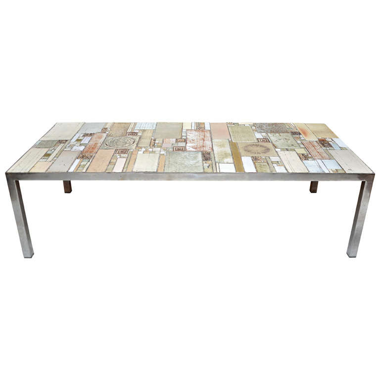 A Pia Manu Ceramic Top Coffee Table For