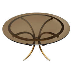 Circular Gilt Iron Table By Roger Thibier.