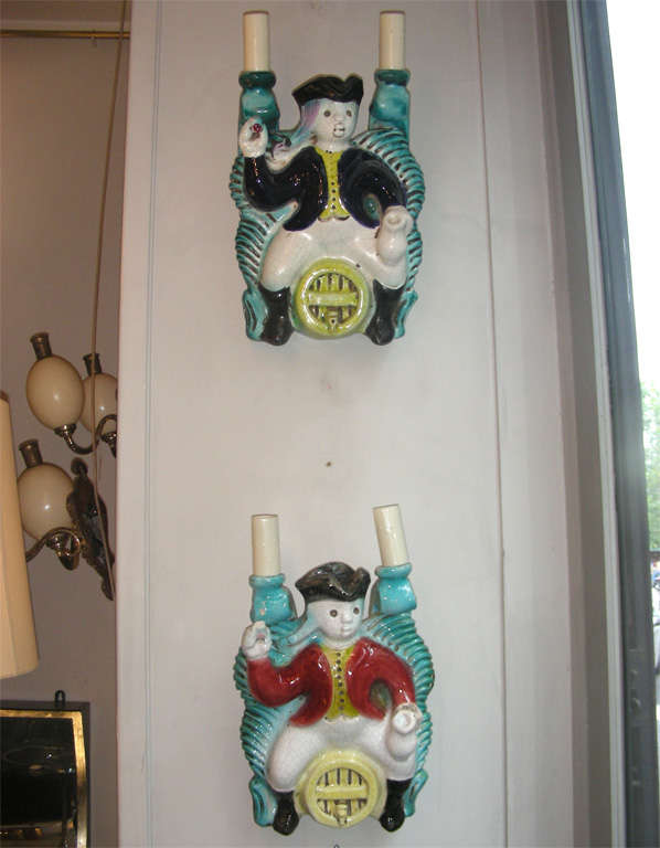Exceptional, 1940s Series of Six Sconces by Georges Jouve In Good Condition For Sale In Paris, FR