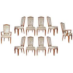 Set of Ten Mahogany Sits by Jules Leleu